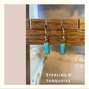 Tiny minimal turquoise earrings